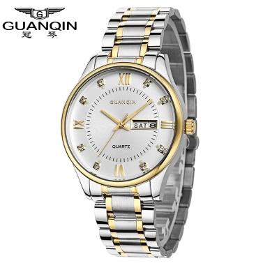 GUANQIN 2016 Neue einfache Top-Marke Luxus Quarzuhren Männer Big Dial Stahl Kalender Business Watch