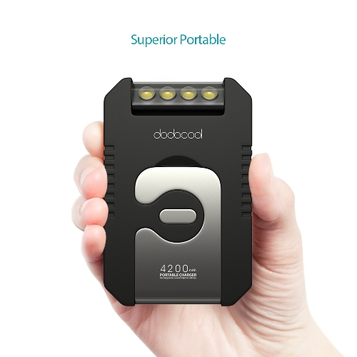 dodocool 4200mAh Portable Solar Charger Power Bank with LED Flashlights