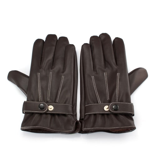 Unisex Fashion Gloves Fall Winter PU Leather Driving Touch Screen Warm Full Finger