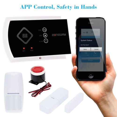 ZONEWAY Wireless ANDROID IOS APP Phone Control GSM SMS Alarm Security System