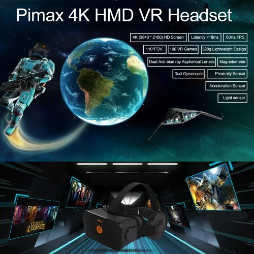 Pimax 4K VR Headset Virtual Reality Glasses for Computer Notebook