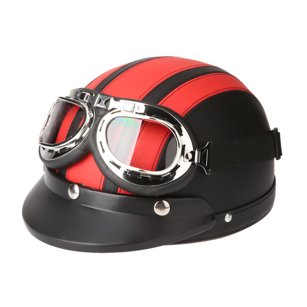Best motorcycle scooter open face half leather red sale for Best helmet for motor scooter