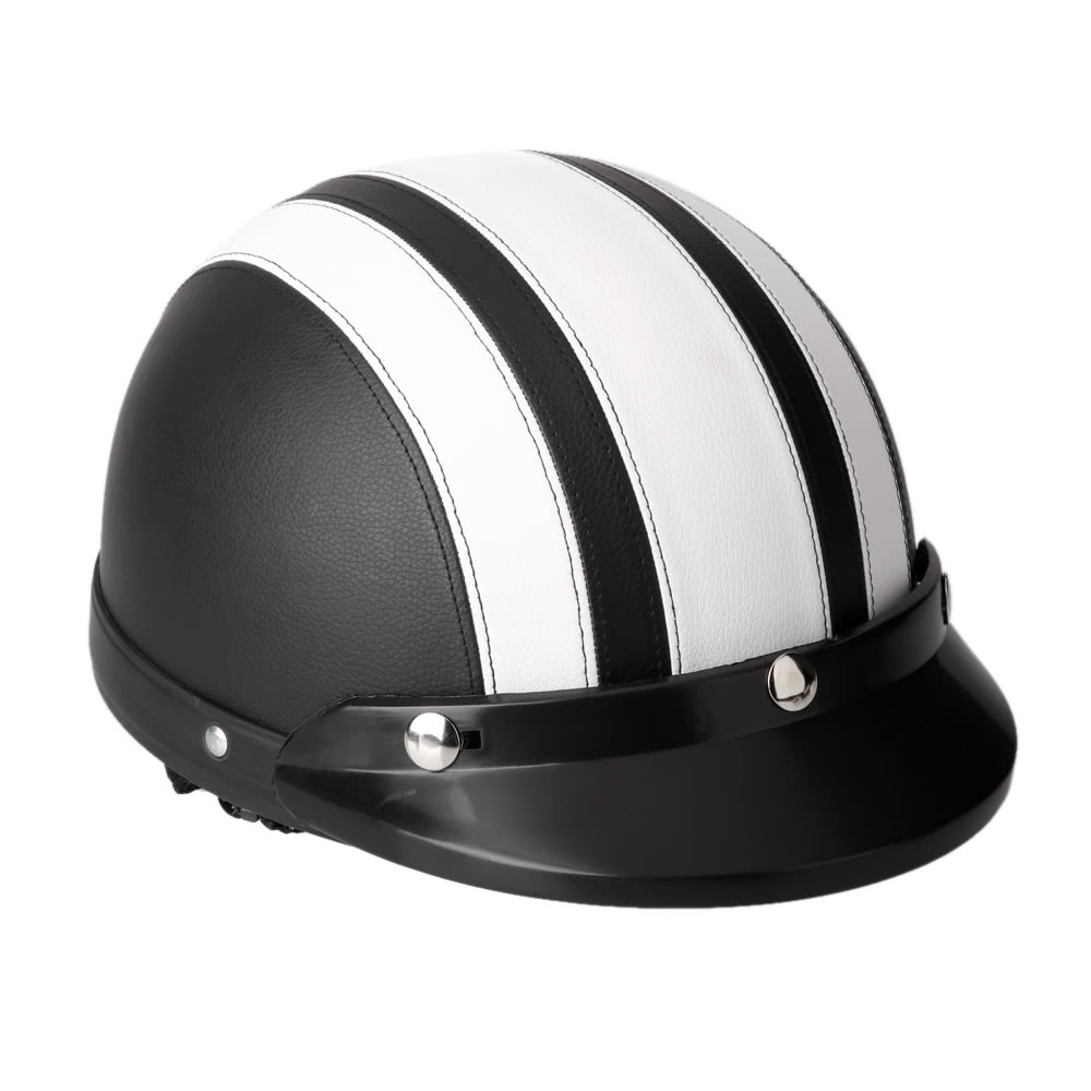Best motorcycle scooter open face half leather white sale for Best helmet for motor scooter