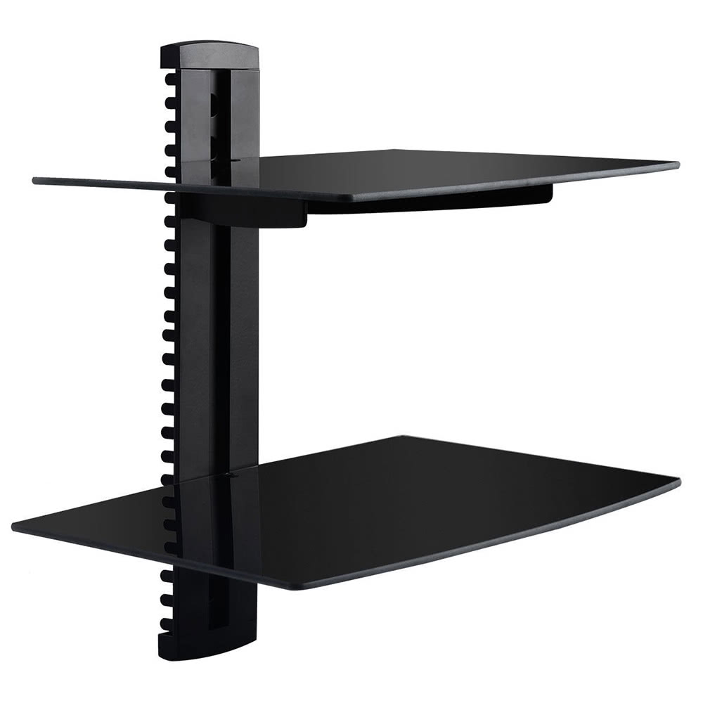 best 2 tier dual glass shelf wall mount bracket with cable. Black Bedroom Furniture Sets. Home Design Ideas