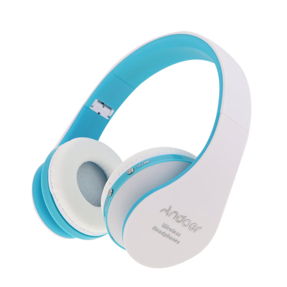 NEW Andoer Foldable White/Blue Wireless Bluetooth Stereo Headphones ...