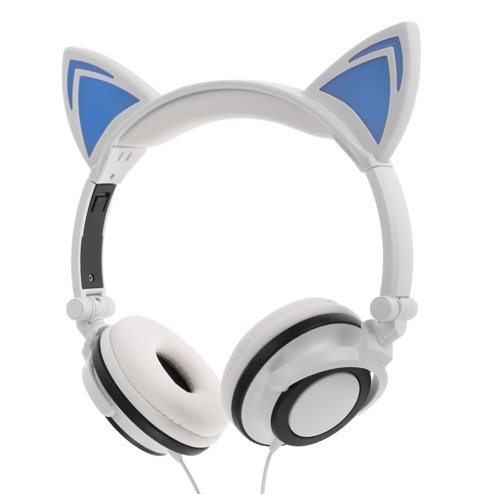 Best 3 5mm Wired Headphones Cat Ear Foldable Flashing