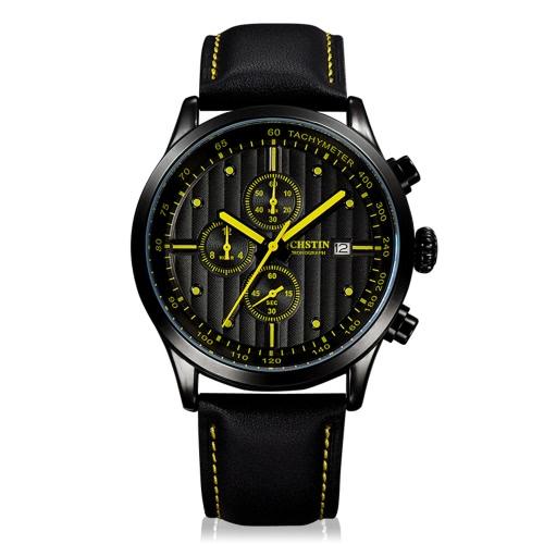 OCHSTIN Luxury Genuine Leather Quartz Casual Men's Wristwatch