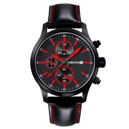 OCHSTIN Luxury Fashion Genuine Leather Man's Casual Wristwatch
