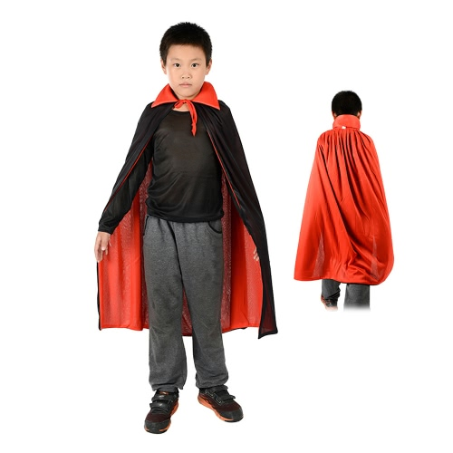 Kids 35 inches Long Black & Red Reversible Vampire Cape Witch Wizard Devil Cloak