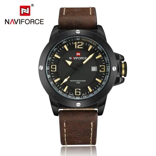 NAVIFORCE Quartz Man Casual Watch PU Leather Strap
