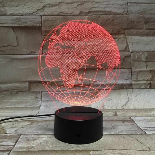 3D Globe Visual LED Acrylic Plate Optical Plug Night Light,free shipping $9.63 (Code:WZL1701)