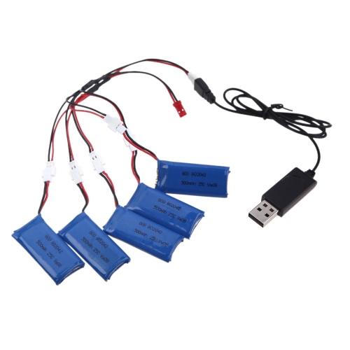 5Pcs 3.7V 500mAh Lipo Battery+USB ...