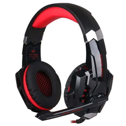 KOTION EACH G9000 3.5mm Gaming Headphone with  Mic LED Light Black-red