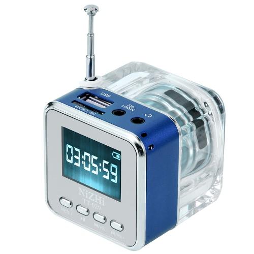 Mini Digital Portable Music MP3/4 Player Micro SD/TF USB Disk Speaker FM Radio Blue