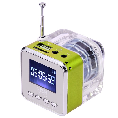 Mini Digital Portable Music MP3/4 Player Micro SD/TF USB Disk Speaker FM Radio Green