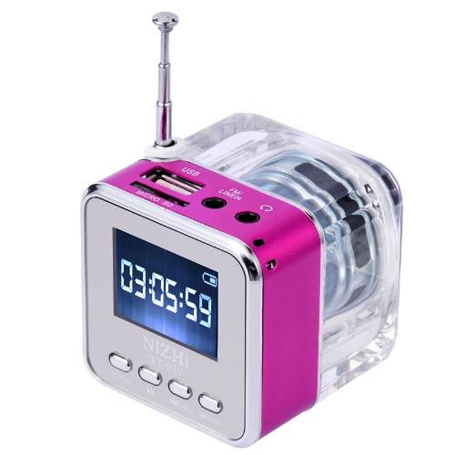 Mini Digital Portable Music MP3/4 Player Micro SD/TF USB Disk Speaker FM Radio Rose